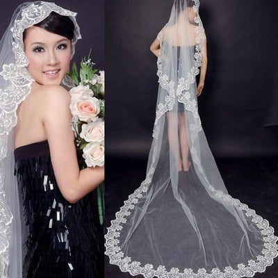 Long Bridal Lace Mantilla Cathedral Length Wedding Veil