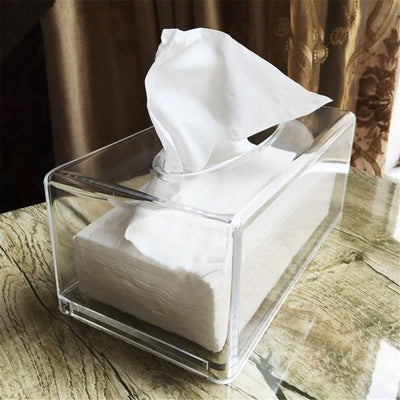 Rectangular Tissue Box Cover - Clear Acrylic Tissue Holder