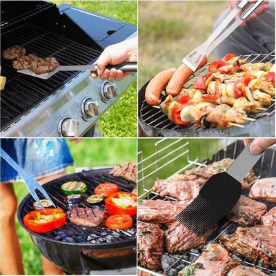 10Pc BBQ Grill Tool Set - Complete BBQ Grill Tools With Case