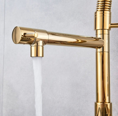 Luxury Brushed Gold Kitchen Faucet - Gold Bathroom Faucets