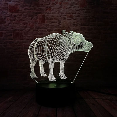 Cool 3D Bull Home Decoration – 7 Colors LED Bedroom Light