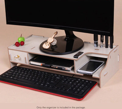 Wooden Monitor Stand - Monitor Riser And Desk Organizer