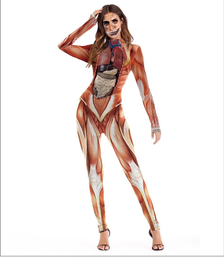 Scary Halloween Costume For Women - Muscle Print Catsuit