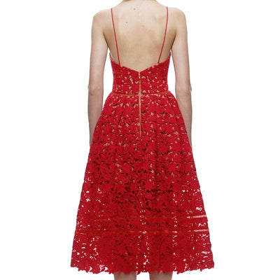 prom dresses, homecoming dresses, Sexy Red Lace Party Skater Dress