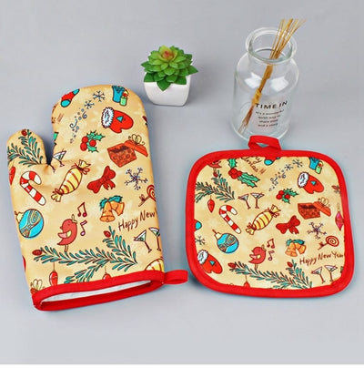 oven gloves, best oven mitts, oven mitt set, baking gloves, cooking mittens, baking mitts, Christmas Anti Heat Padded Oven Mitts