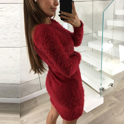 Plus Size Long Sleeve Faux Fur Bodycon Dress