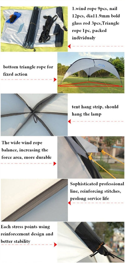 Portable Gazebo Canopy - Pop Up Outdoor Camping Tent