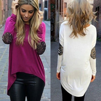 Women Sequin Irregular Hem Top Long Sleeve Blouse