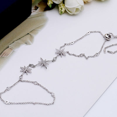 Trendy Silver Star Chain Links Slave Hand Bracelets