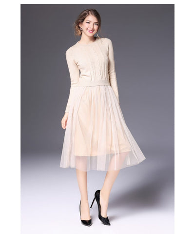 Elegant Knitted Long Sleeve Sweater Dress
