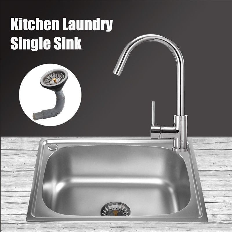 utility sink, stainless steel laundry sink, laundry sink, deep single bowl kitchen sinks, Deep Single Bowl Kitchen Sinks - Stainless Steel Laundry Sink