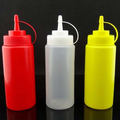 5 Pcs Plastic Kitchen Squeeze Bottle - Condiment Dispenser
