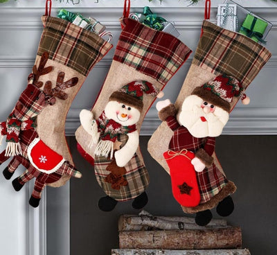 3 Pcs Stocking Santa Claus Socks - Christmas Tree Decoration