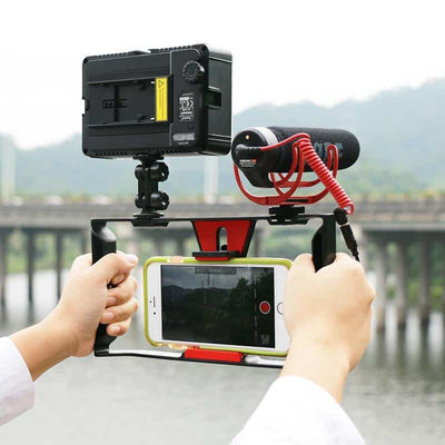 Handheld-Smartphone-Film-Making-Rig-Handle-Stabilizer-Bracket-Holder-Cradle-Phone-Clip-w-Two-Hot-Sho