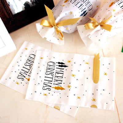 10 Pcs White Golden Tree Gift Bags for Merry Christmas