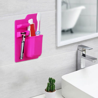 Toothbrush and Razor Shaver Silicone Mirror Holder for Bath