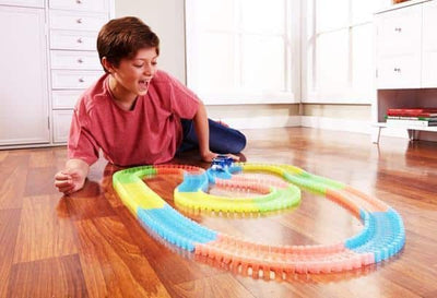 Rainbow Heroes Glowing Car Racing Set for Kids- Awesomely FUN