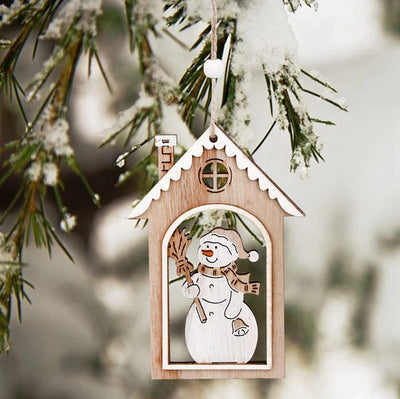 3 Pcs Small Wooden Christmas Ornaments
