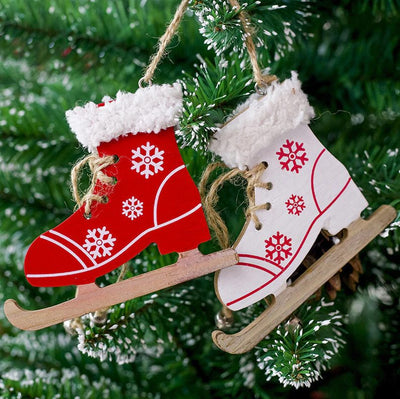 Wooden Ice Skate Christmas Ornaments - Xmas Decorations