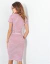 Striped Shortsleeve Red Sexy Bodycon Dress