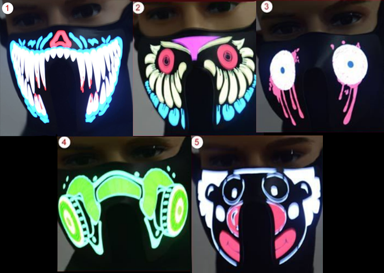 Luminous LED Flashing Face Mask - Light Up Mask