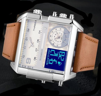 Mens Luxury Sport Square Leather Watch