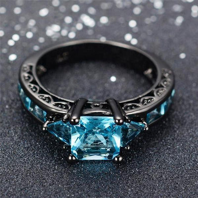 Aquamarine Gemstone Ring - 10kt Black Gold Plated Band Ring