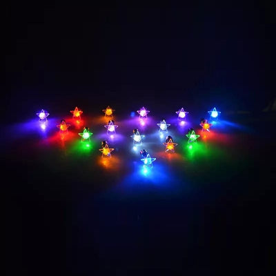 LED Five Pointed Star Earrings - Glowing Light Up Earrings