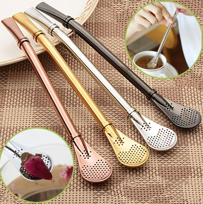 Stainless Steel Straw - Spoon Strainer