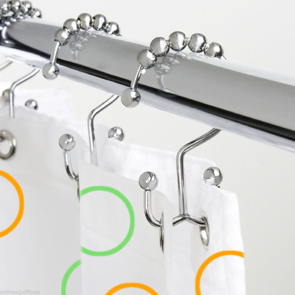 12 Pcs Metal Double Glide Shower Curtain Hooks