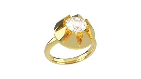 an 18ct yellow gold ring with a large diamond