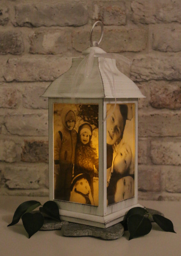 Large Personalised Photo Lantern - White and Brushed Pewter
