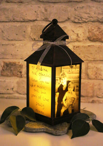 Small Personalised Photo Lantern - Antique Copper