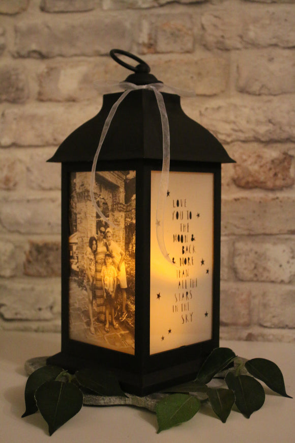 Large Personalised Photo Lantern - Matt Black