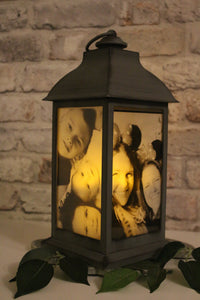 Large Personalised Photo Lantern - Slate Grey