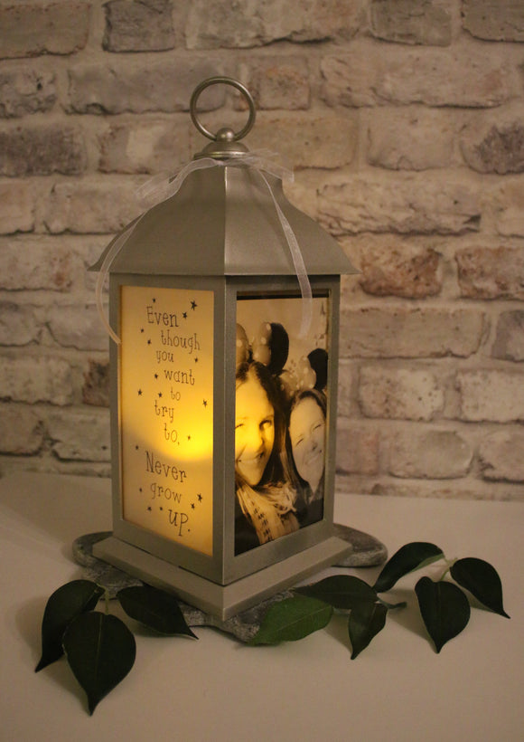 Large Personalised Photo Lantern - White Gold