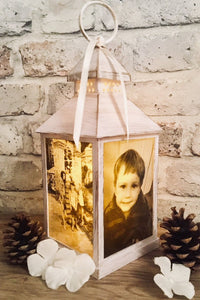 Small Personalised Photo Lantern - Antique Ivory and Brushed Gold