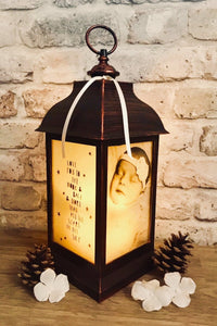 Large Personalised Photo Lantern - Antique Copper Effect