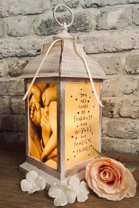 Large Personalised Photo Lantern - Antique Ivory Effect