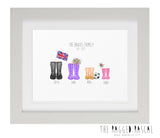 Personalised Family Welly Boot Art