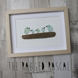 Sea Glass Art - Family of Birds