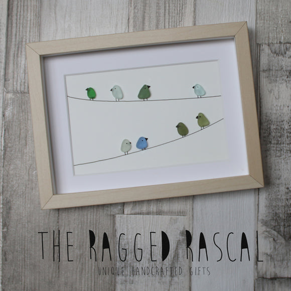 Sea Glass Art - Birds on a wire