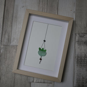 Sea Glass Art - Hanging Succulent
