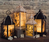Small Personalised Photo Lantern - Antique Ivory Effect