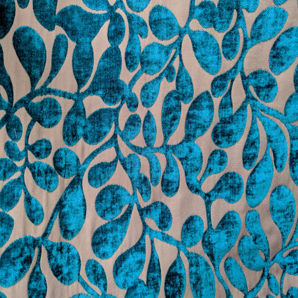 Teal Leaf Cut Velvet