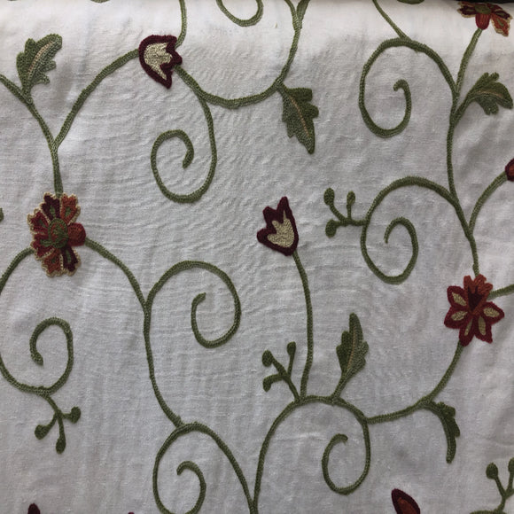 Scroll on Natural Embroidered Linen