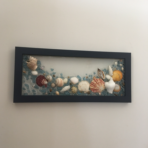 "Glass 7""x15"" Navy Frame with Shells"