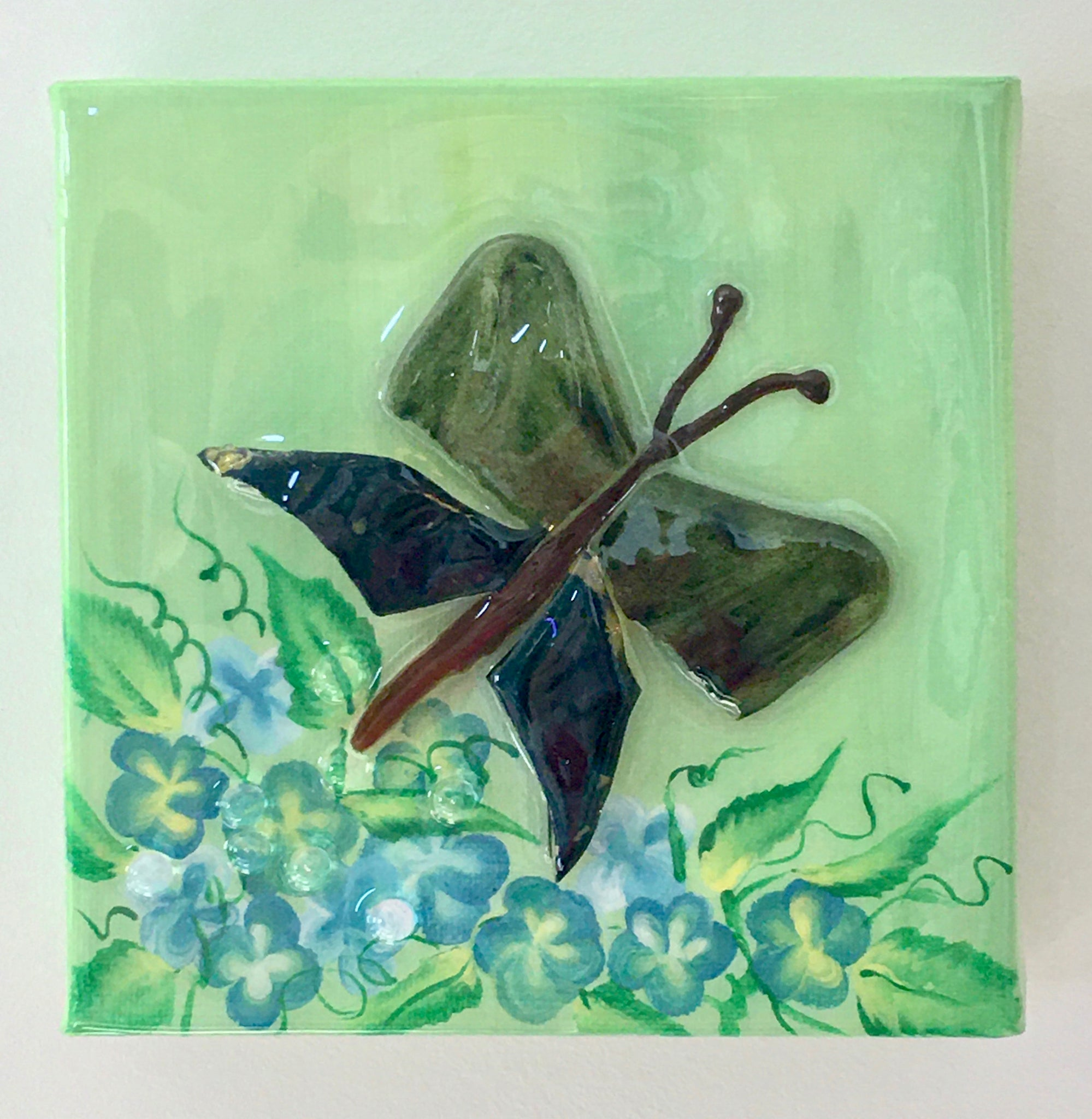 Butterfly Mosaic in Green Glass Wall Art
