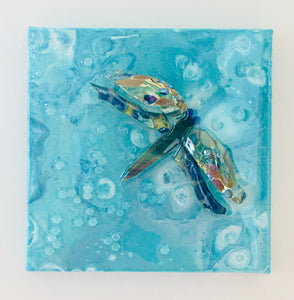 Teal Dragon Fly Mosaic Art