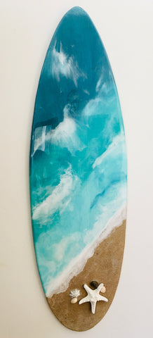 Surfboard Beach Style Wall Decor (Green Tones)